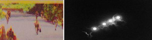 Izda: La mezcla de tintas triplica las siluetas de los soldados en La impresión de una guerra. Dcha: La luna, filmada cuatro veces y montada en cámara en Septième Fraction, de Guillaume Mazloum.